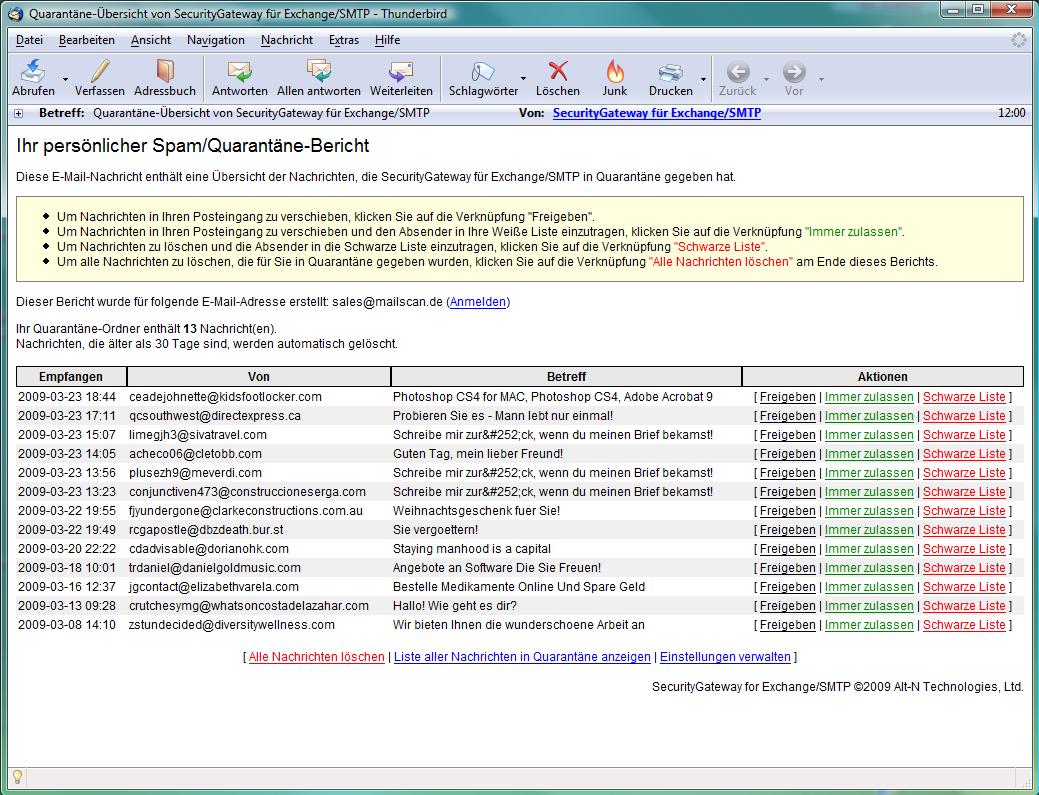 SecurityGateway Bildschirmfoto